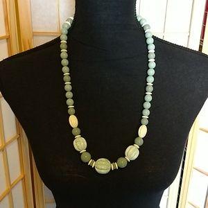 Vintage Statement Necklace Sage and Cream Color
